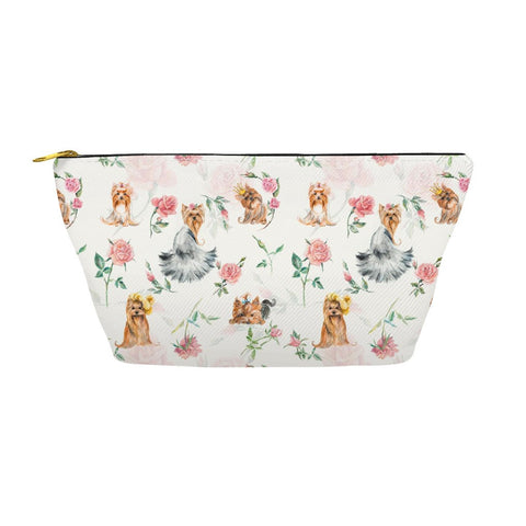 Yorkies Flower Accessory Pouches