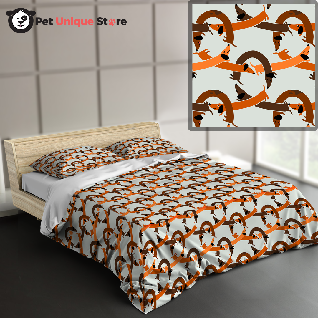 Dachshund chain link pattern Bed combo & 2pillow cover