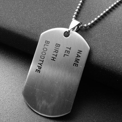 Designer Stainless Steel Dog Tags Chain Mens Pendant Necklace Jewelry Accessories