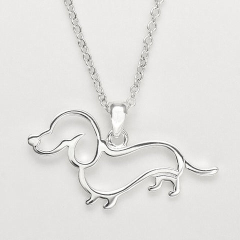 Dachshund Outline Dog Necklace Pendant Heart Gift Necklaces