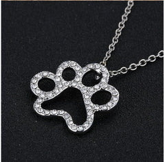 Dog Paw Black with White Crystal Rhinestone Pendant Necklaces Jewelry Vintage
