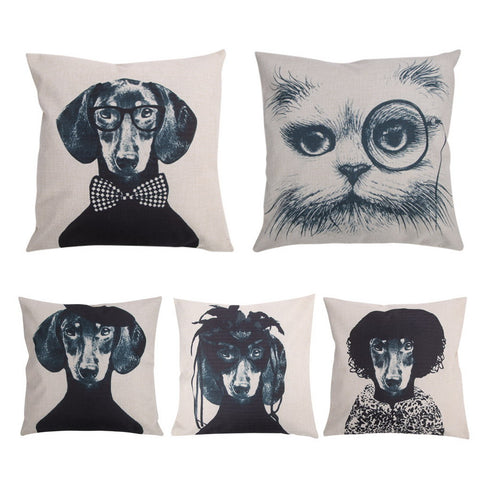Image of Black Cats Bowknots dachshund Dog Pattern Cushion Cover Home Decorative