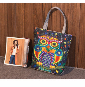 Women Canvas Beach Bag Cartoon Owl Printed Casual Tote Daily Use Shoulder