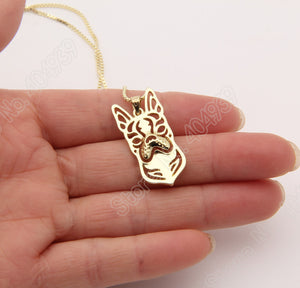 Boston Terrier Necklace 3D Cut Out Puppy Christmas