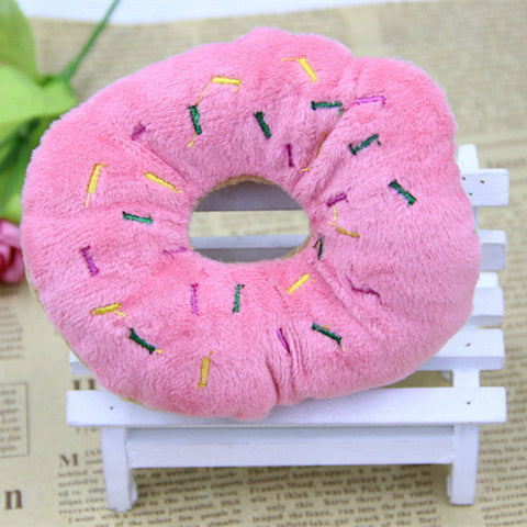Image of Pet Dog Puppy Cat Squeaker Quack Sound Toy Chew Donut Play Toys