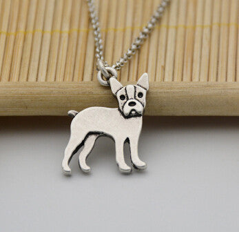 Real Pictures 1 Piece Bohemia Vintage Boston Terrier Necklace Colar Boho Dog