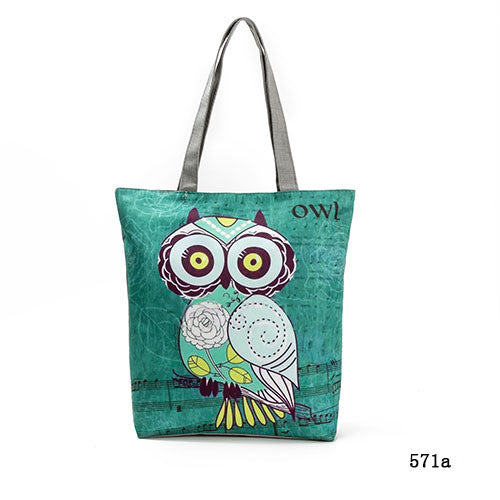 Cute Owl Printed Women's Casual Tote Large Capacity Canvas