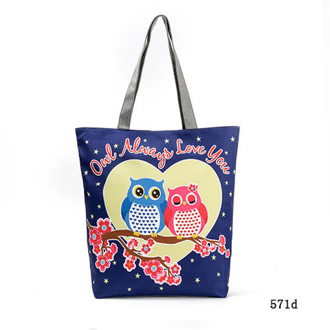 Image of Cute Owl Printed Women's Casual Tote Large Capacity Canvas