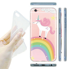 Unicorn Phone Cover for iPhone Coffee Cup Transparent Soft TPU Case Capa