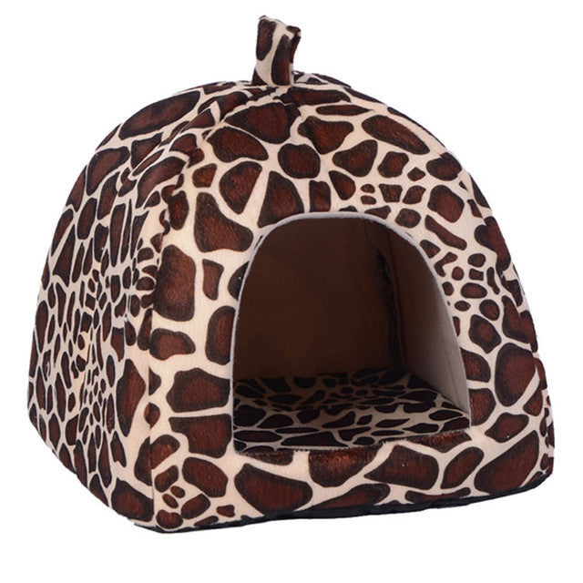 Pet Cat House Foldable Soft Winter Leopard Bed Strawberry