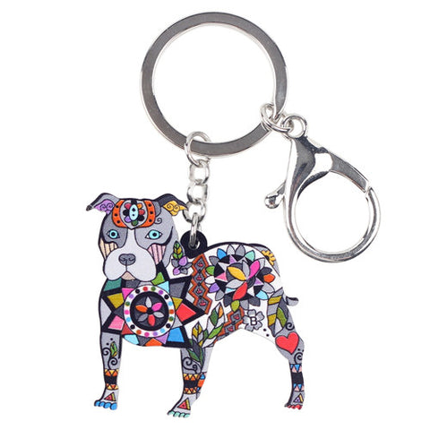Bonsny Acrylic Dog Jewelry Boston Terrier Pit Bull Chain Key