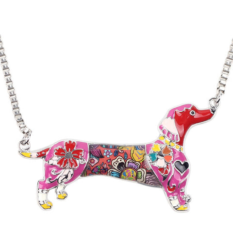 Image of Alloy Enamel Dachshund Dog Choker Necklace