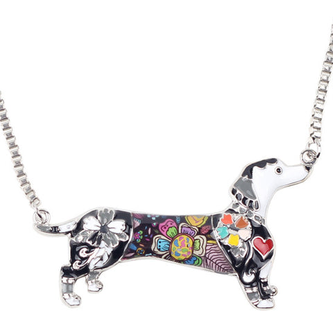 Alloy Enamel Dachshund Dog Choker Necklace