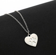 Hot Creative love Heart Paw Claw of Dog Kitty Cat Pendant Necklace