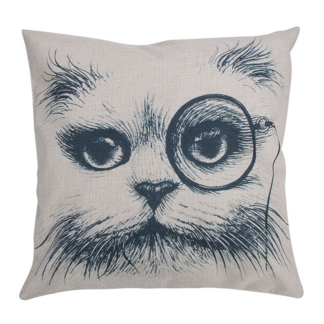 Black Cats Bowknots dachshund Dog Pattern Cushion Cover Home Decorative