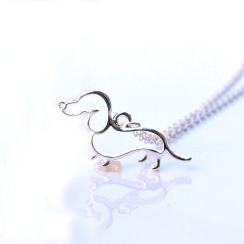 Image of New Cute Little Puppy Dog Pendant Necklace Silver Dachshund Necklace