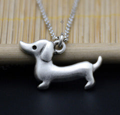 Vintage Silver Plated Dachshund Necklace Color Boho Animal Dog