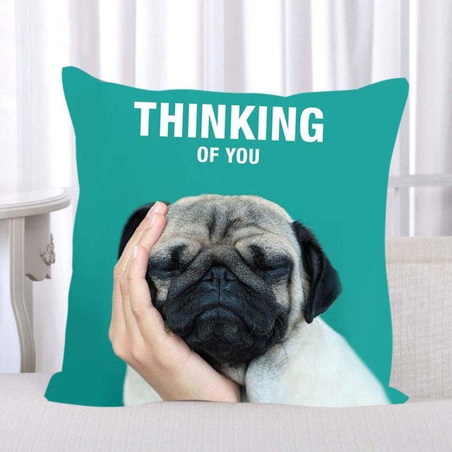 French Bulldog Pug Dog Colorful Pillowcase