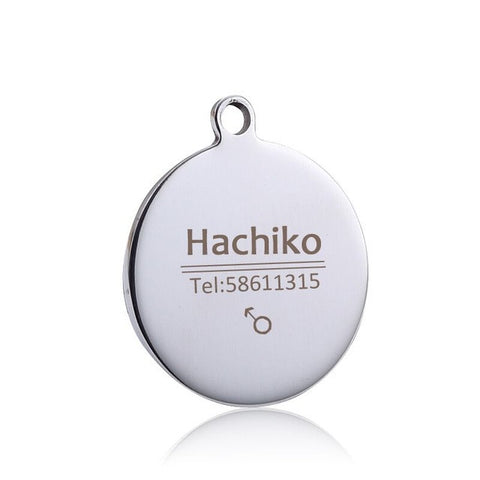 Stainless steel Circular dog cat tag Pet collar accessories