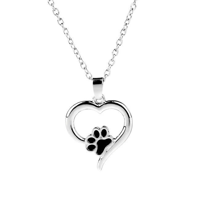 Charm Dog Cat Paw Pendant Necklaces Hollow Heart Pet