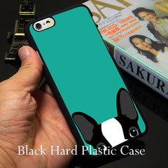 Boston Terrier dog in green TPU Phone Case for iPhone
