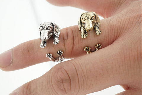 Dachshund ring Gun Black  Antique Silver  Antique Bronze 3 colors Pet ring