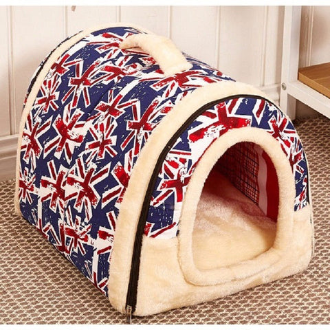 Image of Dog House Nest With Mat Foldable Pet Dog Bed Cat Bed House