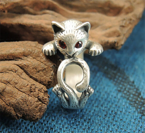 Drop Shipping Vintage Silver Color Boho Chic Red Eye Cat Ring Fashion Wedding Cute Cat Rings Anillos Hippie Rings For Women
