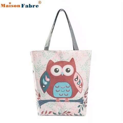 High quality Owl Printed Canvas Tote Casual Beach Bags Women Shopping Bag Handbags