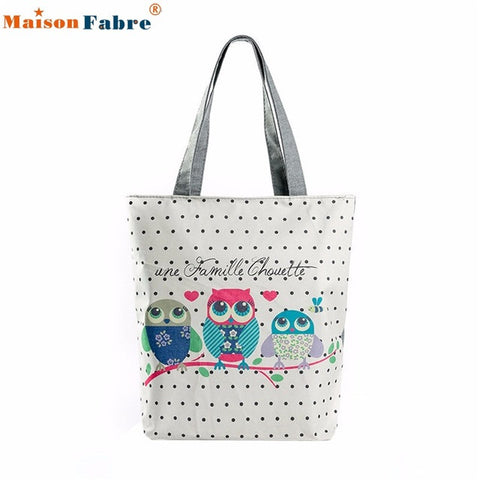 Image of High quality Owl Printed Canvas Tote Casual Beach Bags Women Shopping Bag Handbags