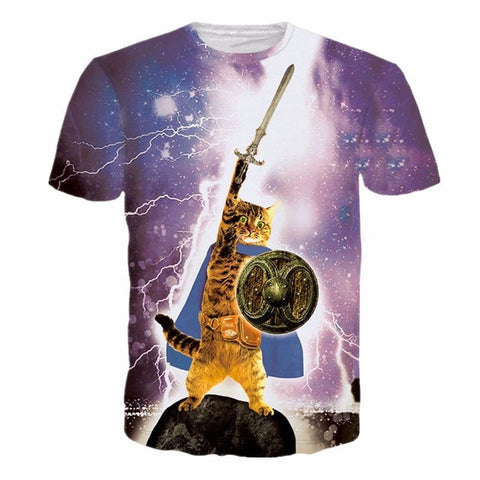 2017 NEW Fullprint cats 3D t-shirt fluffy cuddly terrified cat faces awesome