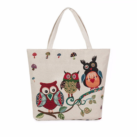 Image of Fashion Owl Printed Canvas Tote Casual Bags Women 7 models