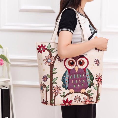 Fashion Owl Printed Canvas Tote Casual Bags Women 7 models