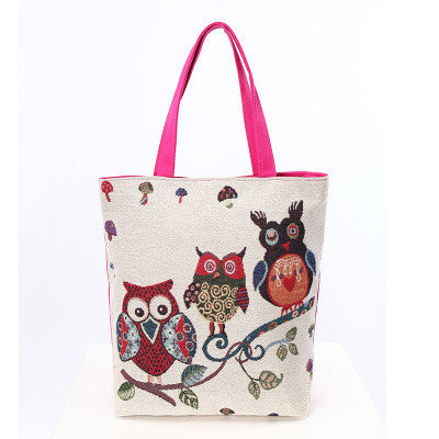 Image of Cartoon cute fashion women's shoulder bag The owl leisure and travel bag for lady
