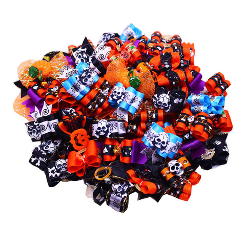 10PCS/5pairs Halloween Pet Hair Bows grooming Charms accessories