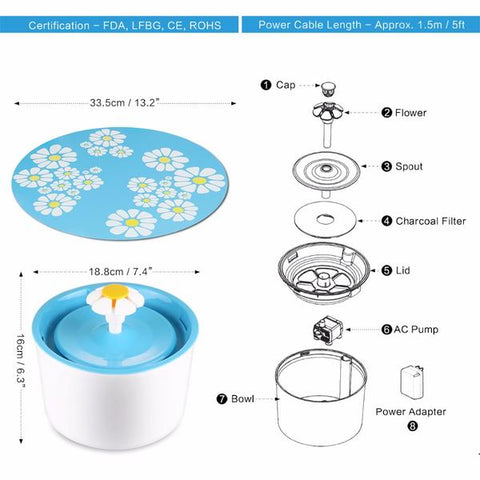 Image of Automatic Flower Style Electric Fountain Drinking Water Dispenser Filter