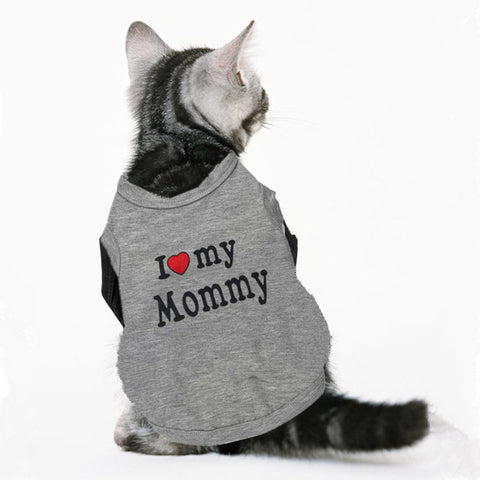 Love Cat Clothes Cotton Pet T Shirts Clothing For Cats Vest  Summer Cat Clothes Love Mommy Daddy Vest  Gatos Pet Clothing 40S1