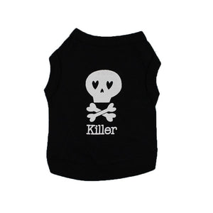 Dog Clothes Wakeu Pet Puppy Skull Killer Pattern T-shirt Apparel for Small Dog Boy Chihuahua Yorkie (Black, XS)