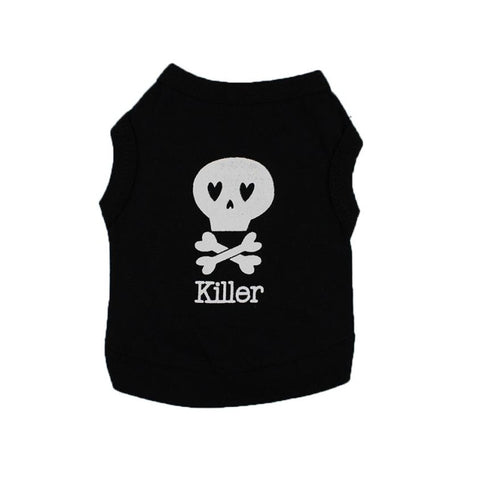 Image of Dog Clothes Wakeu Pet Puppy Skull Killer Pattern T-shirt Apparel for Small Dog Boy Chihuahua Yorkie (Black, XS)