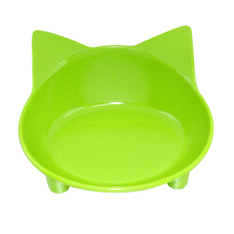 Image of Pet Plastic Cat Face Bowl Cat Kitten Food Feeding Bowls Non Slip Pet Supplies Black Blue Red Green