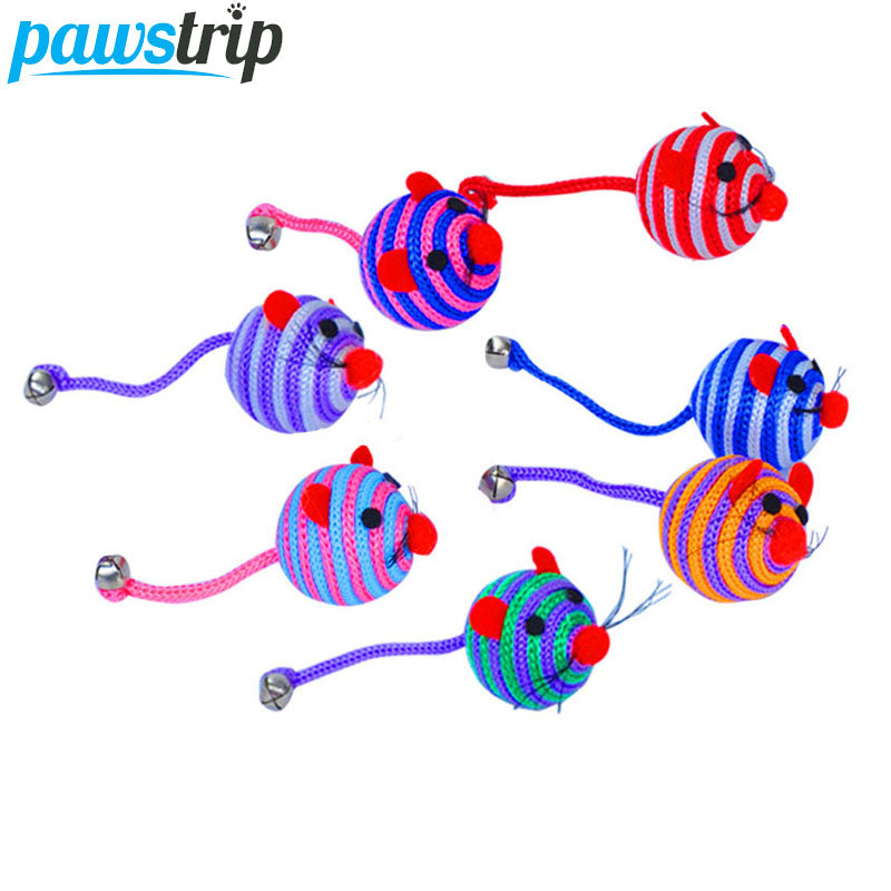 pawstrip 5pcs/lot Pet Cat Toy Ball Cartoon Mouse Toy For Cats Nylon Rope Dog Toys Interactive Bell Kitten Toys Diameter 5cm