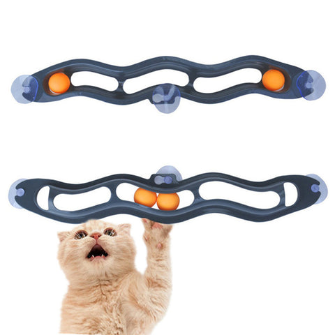 Plastic Funny Pet Cat Toy Track Balls Kitten Cat Window Suction Track Toy Interactive Dog Cat Training Roll Ball Toys
