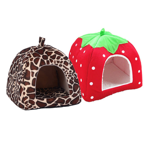 Image of Pet Cat House Foldable Soft Winter Leopard Bed Strawberry