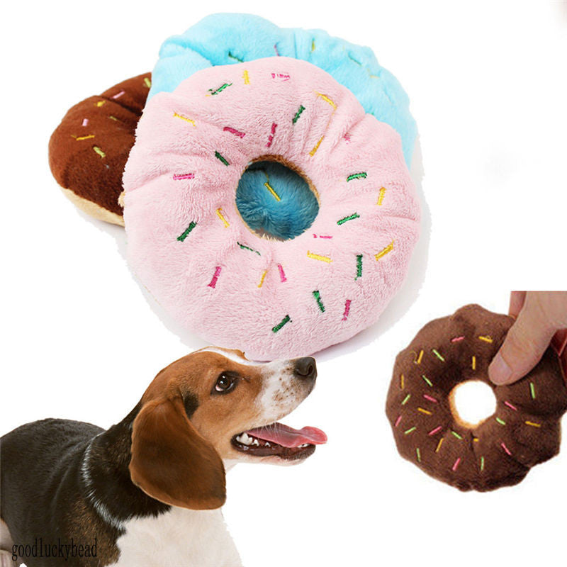 Pet Dog Puppy Cat Squeaker Quack Sound Toy Chew Donut Play Toys