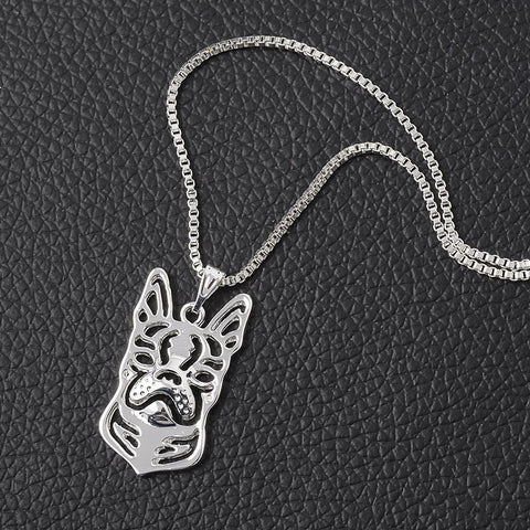 Fashion Dog Statue Boston Terrier Puppies Pendant Choker Necklace