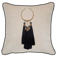Bandhini - Design House Black Tassel Amulet Lounge Cushion 55 x 55 cm