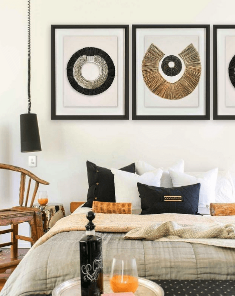 Bandhini Homewear Design Artwork African Disc Copper & Grass Ring on White Artwork 67 x 85 cm