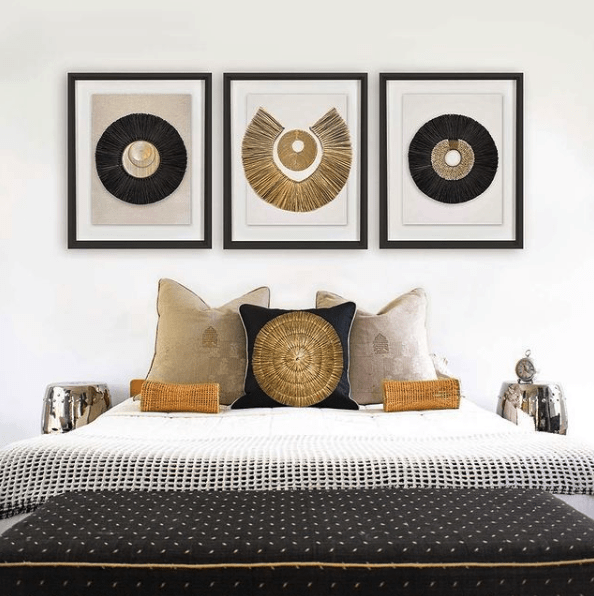 Bandhini Homewear Design Artwork African Disc Gold & Grass Ring on White Artwork 67 x 85 cm