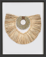 Bandhini Homewear Design Artwork African Shell Ring Coffee & Grass Mat Natural on Natural Artwork 67 x 85 cm