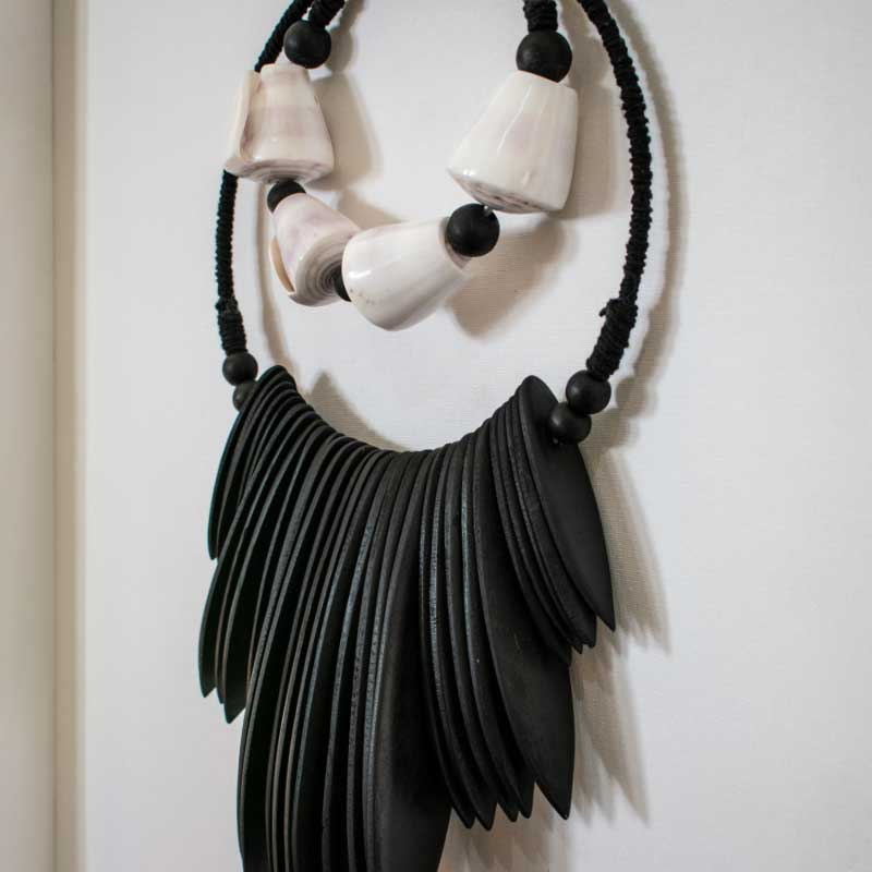 Bandhini Homewear Design Artwork Black / 26 x 33 Wooden Tribal Necklace Black Artwork 67 x 85 cm